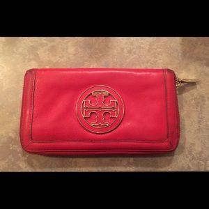 Tory Burch Red Amanda Zip Around Wallet